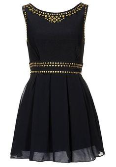 Black chiffon dress with gold studs