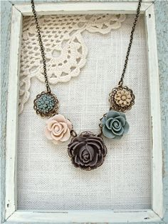 Earthy flower garden charm necklace  Antique brass by sweetsimple