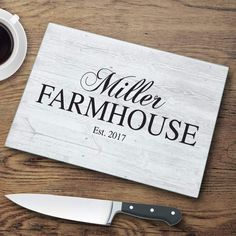Personalized Family Modern Farmhouse Glass Cutting Board is part of Country Home Accessories Cutting Boards 8 Material Tempered glass Care Instructions Hand wash only Personalize with 1 line up t - Anniversary Gifts For Couples, Personalized Cutting Board, Glass Cutting Board, Cutting Boards, Modern Family, Engagement Gifts, Couple Gifts, Hostess Gifts, Mother Gifts
