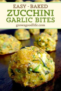 These baked zucchini garlic bites are made from shredded zucchini, garlic, Italian herbs, and baked until the outside is crispy. Dip into a homemade tomato sauce and enjoy in one tasty bite. Zuchinni Recipes, Vegetable Recipes, Vegetarian Recipes, Cooking Recipes, Healthy Recipes, Shredded Zucchini Recipes, Grilled Vegetable Salads, Vegetable Bake, Vegetable Ideas