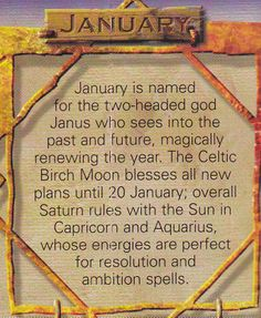 Magick Spells:  #Correspondences ~ January.