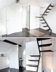 Simple Staircase in Belgium Mini House. These stairs take up very little space t. Simple Staircase in Belgium Mini House. These stairs take up very little space thanks to a pivoting design with a (very) small platform at the bend. Space Saving Staircase, Small Staircase, Loft Staircase, Attic Stairs, House Stairs, Staircase Ideas, Staircases, Loft Spaces, Small Spaces