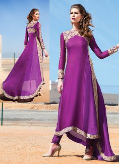 Signature Purple Pure Georgette Anarkali Suit