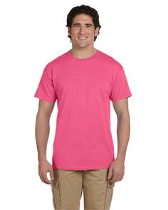 Fruit Of The Loom Heavy Cotton Hd Adult Tee (Neon Pink) (S). 100% cotton preshrunk jersey; Ash is 98/2% cotton/poly;. Athletic Heather is 90/10 cotton poly; Black Heather 50/50 cotton/poly. Neons, Retro Heathers & Safety Colors are 50/50 cotton/poly. shoulder-to-shoulder tape; double-needle coverstitched front neck. double-needle stitched sleeves and bottom hem.