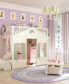 yet ANOTHER AMAZING idea for a room for a bed and breakfast! this would delight ANY child! do one in a girl theme like princess or house, one in a boy theme such as pirates or race car, then one in an neutral theme such as ocean or treehouse!