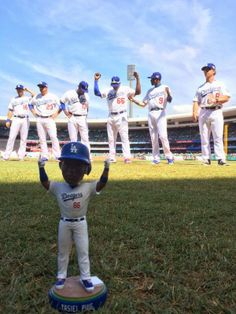 Here's an early peek at the Yasiel Puig bobblehead on the field of the Sydney Cricket Ground that the Dodgers are giving away on May 13th, pic via Dodgers on twitter.