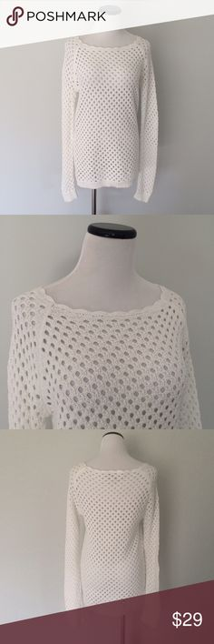 Ann Taylor LOFT white open knit Sweater Gently worn once or twice. Size small Petite. Open knit Sweater. LOFT Sweaters