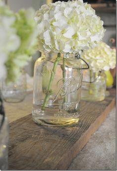 White hydrangeas & Mason jars