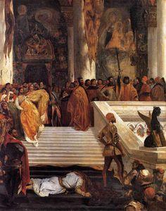 L'Exécution de Marino Faliero par Eugène Delacroix - « Delacroix racontait que c'était en peignant Marino Faliero qu'il avait trouvé sa théorie des couleurs. Il lui fallait, pour son doge décapité et ses sénateurs, des manteaux d'or, et il avait inutilement employé les jaunes les plus éclatants : ses manteaux étaient restés ternes. Il résolut d'aller au Louvre étudier les Rubens, pour essayer de ravir à cet autre titan le feu du ciel.