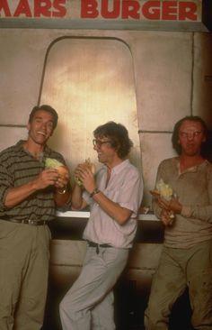 Total Recall (1990): Arnie and director Paul Verhoeven enjoying a Mars Burger.