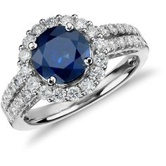 Blue Nile Sapphire and Micropavé Diamond Halo Split Shank Ring in 18k... ($5,500) ❤ liked on Polyvore