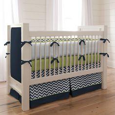Navy and Citron Zig Zag Crib Bedding | Carousel De