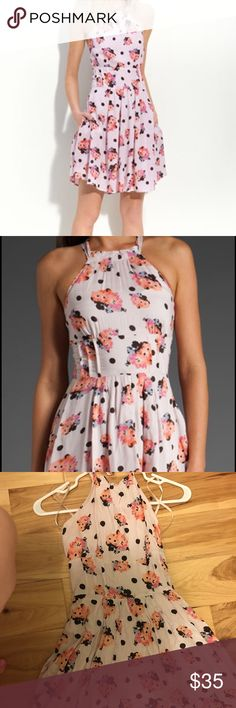 Free people polka for floral Halter dress In good condition . Size XS Free People Dresses Mini