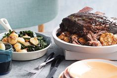 The short rib is slow-cooked for 8 hours until meltingly tender, so begin this recipe in the morning or pop it in the oven before you hit the sack.