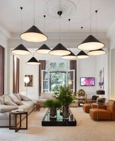 Living Room Modern Living Room Light Fixtures Brown Leather Sofa White Sofa Cushion White Fur Rug Thick And Long Marble Table Floor Lamp Pen...