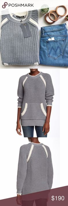 Rag & Bone Camille Tunic Crew neck with long raglan sleeves. Kangaroo pocket in the front. Ribbed knit trim (super thick and warm). Approx. 28.5 length. Fiber Content: 53% cotton, 37% acrylic, 10% wool Dry clean only  Trades No Bundles ✨Reasonable Offers Welcome  Ships in 1-2 Days rag & bone Sweaters Crew & Scoop Necks