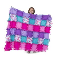 Melissa & Doug Created by Me! Flower Fleece Quilt - The Original (No-Sew Fleece Quilt, Soft Material, 48 Pieces, × Great Gift for Girls & Boys - Best for 8 Year Olds & Up) Fleece Tie Blankets, Tie Pillows, Crafts For Kids, Arts And Crafts, Cute Quilts, Melissa & Doug, Rag Quilt, Craft Kits, Craft Ideas