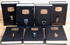 Custom Harry Potter Leatherbound Books with Horcrux Bookmarks http://geekxgirls.com/article.php?ID=6544