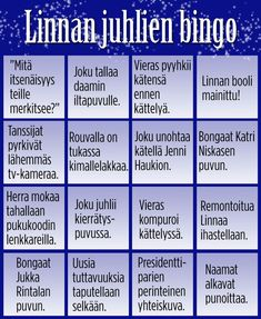 Pelaa Linnan juhlien bingoa! A Classroom, Bingo, Finland, Nostalgia, Teacher, Education, Tv, Party, Random Stuff