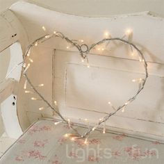 Metal Heart Wreath with 40 Clear Fairy Light Bulbs - cute for round the marquee Solar Fairy Lights, Lighted Wreaths, Good Night Moon, Heart Frame, Heart Wreath, Room Themes, Thoughtful Gifts, Heart Shapes, Valentines