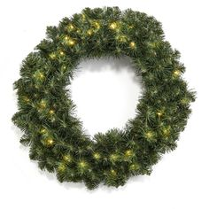 Lighted Christmas Wreath Pre-Lit Clear LED Lights Battery Outdoor Timer Option #LightedChristmas