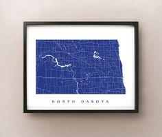 North Dakota Map  Custom Poster Print by CartoCreative on Etsy