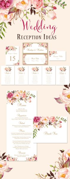 Printable reception seating chart, table numbers, place cards, individual seating listing for each table and signs for the bride & groom head table. Also available in this series are printable menu cards and thank you templates.