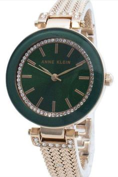 Features:  Rose Gold Tone Stainless Steel Case Rose Gold Tone Stainless Steel Bracelet Quartz Movement Mineral Crystal Green Dial Analog Display Pull/Push Crown Solid Case Back Jewelry Clasp 30M Water Resistance  Approximate Case Diameter: 30mm Approximate Case Thickness: 9mm Back Jewelry, Jewelry Clasps, Stainless Steel Bracelet, Stainless Steel Case, Anne Klein Watch, Crystal Green, Michael Kors Watch, Gold Watch, Mineral