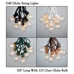 100 Foot G40 Outdoor Lighting Patio Party Globe String Lights-125 Clear Bulb Set #Vidagoods