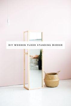 DIY Wooden Floor Standing Mirror