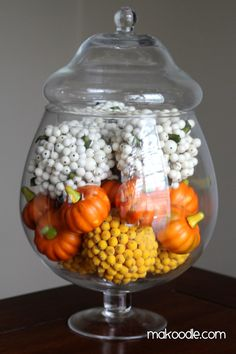 """Candy Corn"" Fall Apothecary Jar Decor"