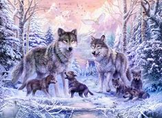 Winter Wolf Family  Digital Art  - Winter Wolf Family  Fine Art Print