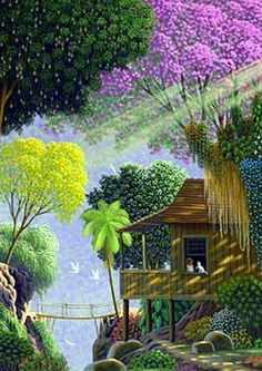 My First Cat by Edivaldo Barbosa de Souza - GINA Gallery of International Naive Art Jungle Art, Caribbean Art, Tropical Art, Naive Art, Indian Paintings, Tree Art, Unique Art, Les Oeuvres, Landscape Paintings