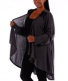 Love this Charcoal Sheer Open Duster - Plus cardigan with length. Self: 87% polyester / 10% rayon / 3% spandex Contrast: 100% polyester vegan cruelty free plus sizes BBW black gauzy