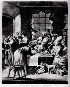 """A Society of Patriotic Ladies"" a British cartoon mocking the Edenton Ladies Tea Party, a political protest against the British government organized by a group of North Carolina women in 1774. #americanrevolution #women"