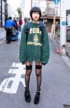 Thigh highs, garters, sweatshirt