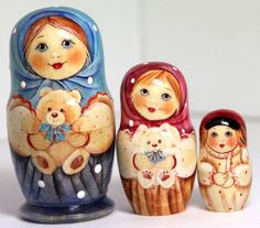 Traditional Russian wood toy hand painted curved wood, nested doll and stacking doll. Girl Faith with teddy bear  3 psc.