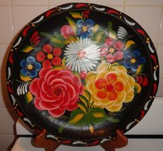 Vintage Hand Painted Mexican Batea 13 Inch Diameter :D
