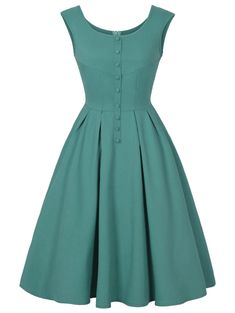 Scoop Neck Buttoned Sleeveless Vintage Dress - Green S Vintage Outfits, Vintage Dresses Online, Robes Vintage, Vintage Fashion, Dress Vintage, Day Dresses, Cute Dresses, Dresses With Sleeves, Dresses Dresses