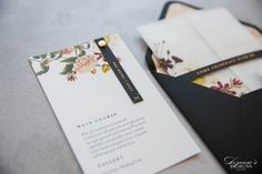 Never be afraid to use black as the perfect statement colour on your designs. Today we are crushing on this oh-so-pretty personalised menu complete with lush florals and custom tag neatly fastened with a metallic brad. Making Wedding Invitations, Wedding Stationery, Custom Tags, Save The Date Cards, Lush, Your Design, Florals, Metallic, Menu