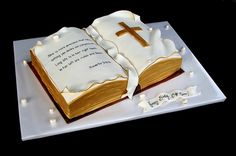 Bible Cake - good for Ordinations, Holy Vows, Priest Birthday/Retirements, even First Communion, Baptism and Confirmation Fondant Cakes, Cupcake Cakes, Open Book Cakes, Comunion Cakes, Christian Cakes, Cake Paris, First Holy Communion Cake, Bible Cake, Religious Cakes