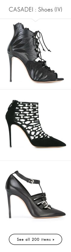 """CASADEI : Shoes (IV)"" by bianca-cazacu ❤ liked on Polyvore featuring shoes, sandals, kohl shoes, black suede sandals, black shoes, black lace up sandals, suede lace up sandals, pumps, black and casadei"