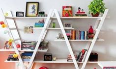 bookshelf out of a ladders