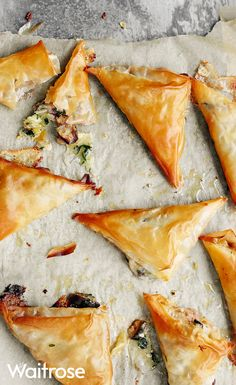 Sweet figs and Brie wrapped in thin sheets of crispy filo pastry make for a tasty meat free starter. Find this recipe and much more on the Waitrose website. Fig Recipes, Pastry Recipes, Vegetarian Recipes, Cooking Recipes, Savoury Recipes, Appetizer Recipes, Waitrose Food, Filo Pastry, Christmas Party Food