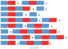 Werkblad sommetjes met de Montessori rekenstokken voor groep 1 en groep 2 via www.juf-lisanne.nl. Werkblad 1 (makkelijk). / Printable Montessori worksheet for kindergarten: number rod sums. Worksheet 1 (easy).