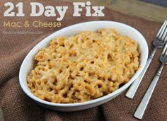 21 Day Fix Macaroni and Cheese (I would use skim mozz, almond milk, and fat free cheddar)