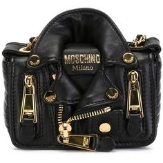 MOSCHINO Biker Crossbody Bag ($1,265) ❤ liked on Polyvore featuring bags, handbags, shoulder bags, moschino, chain shoulder bag, crossbody purses, leather crossbody, leather crossbody handbags and chain strap shoulder bag