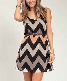 Take a look at the Beige & Cream Zigzag Racerback Dress on #zulily today!