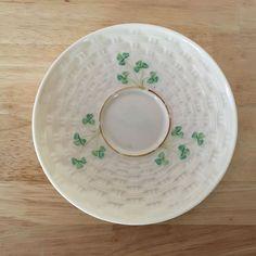 One Belleek Ireland Shamrock Saucer 2nd Generation Green Mark EUC Basket Weave #Belleek