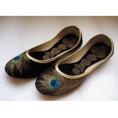 Black Shoes/Gold Shoes/Black Flats/Ethnic Shoes/Velvet